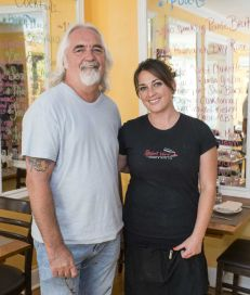 Restaurateur Tom Schaudel and his daughter Courtney Schaudel own Petulant Wino in Aquebogue. (Credit: Randee Daddona)